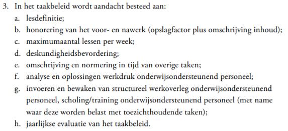 beschrijving taakbeleid uit de CAO